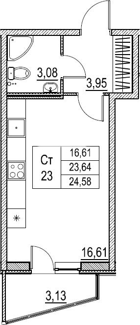 Студия, 24.58 м²