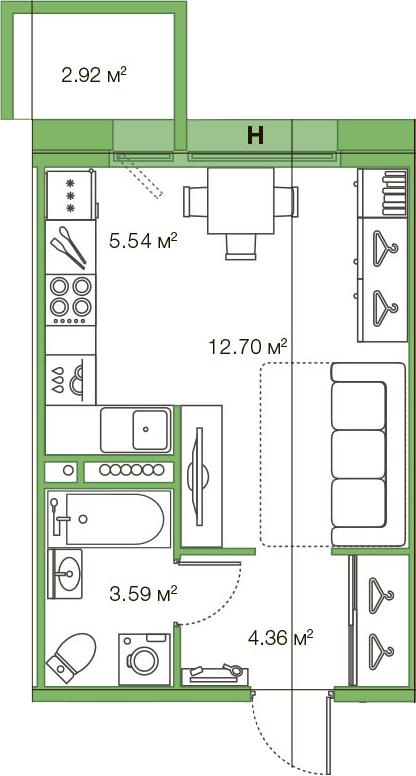 Студия, 26.19 м²