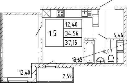 2Е-комнатная, 34.56 м²– 2