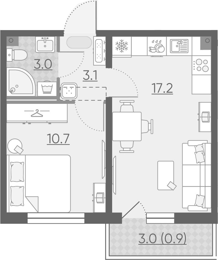 2Е-к.кв, 34.9 м², 2 этаж