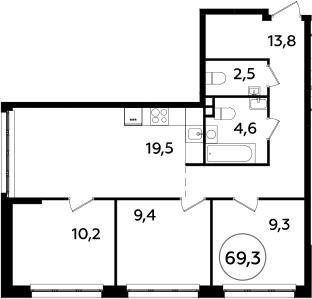 4Е-к.кв, 69.3 м²