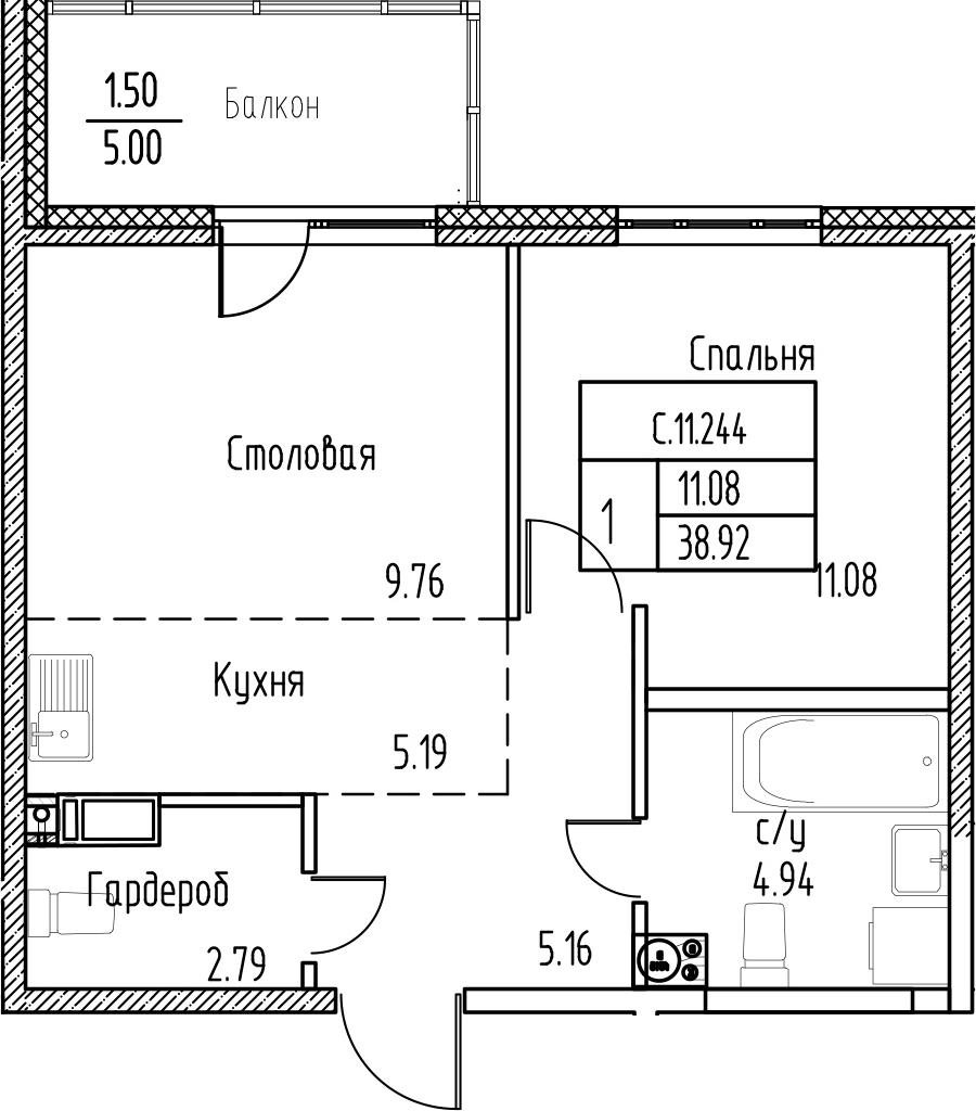 1-к.кв, 43.92 м²