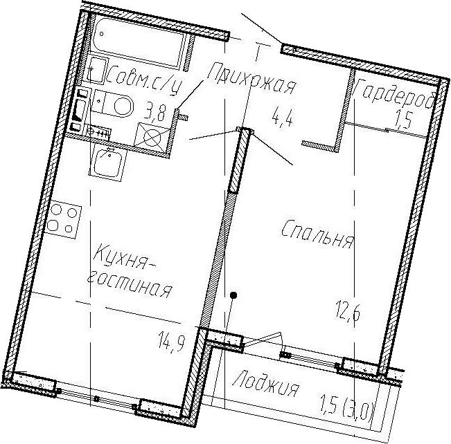 1-комнатная квартира, 37.2 м², 5 этаж – Планировка
