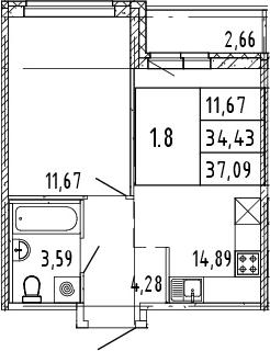2Е-комнатная, 37.09 м²– 2