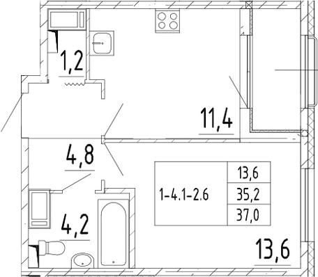 1-комнатная, 37 м²– 2