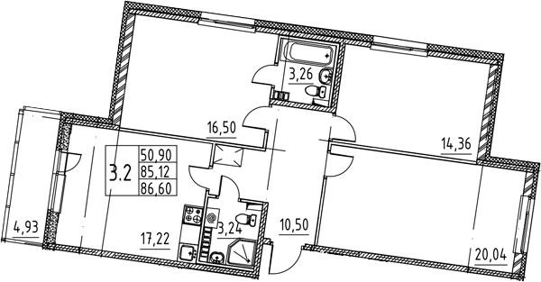 3-к.кв, 90.05 м²