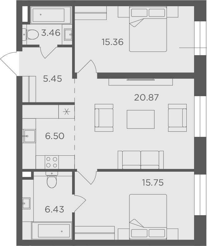 3Е-к.кв, 73.82 м², 9 этаж