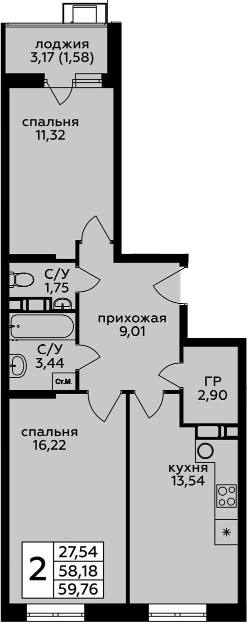 2-к.кв, 59.76 м²