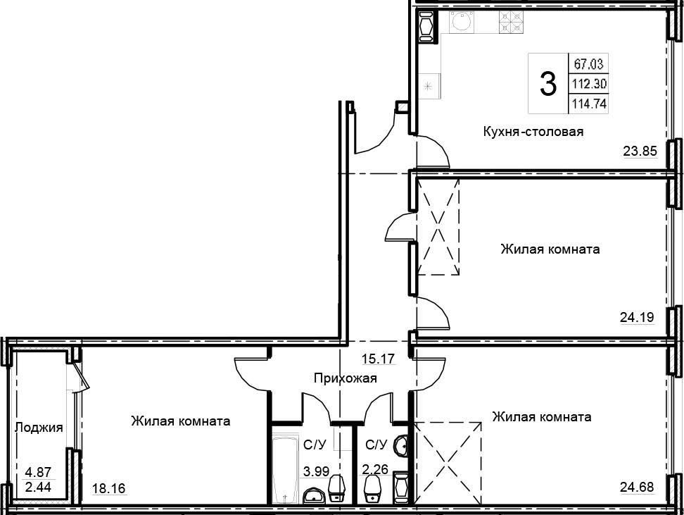 3-к.кв, 114.74 м², 9 этаж
