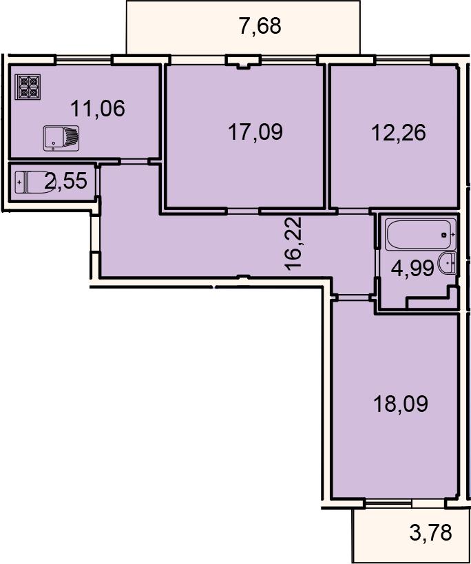 3-к.кв, 93.74 м²