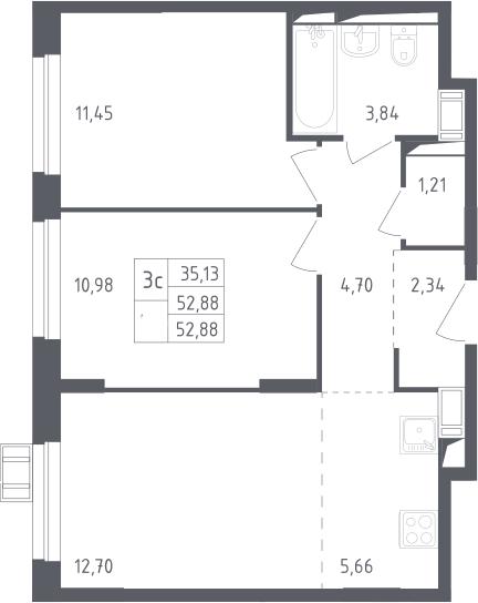 3Е-к.кв, 52.88 м², 13 этаж