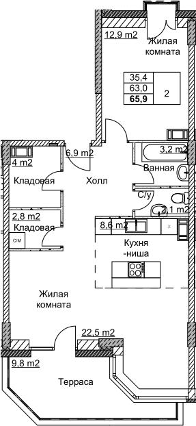 2Е-комнатная, 65.9 м²– 2