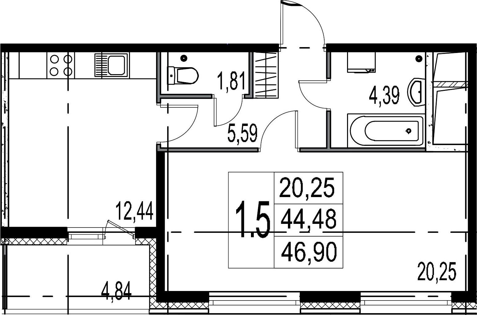 1-комнатная, 44.48 м²– 2