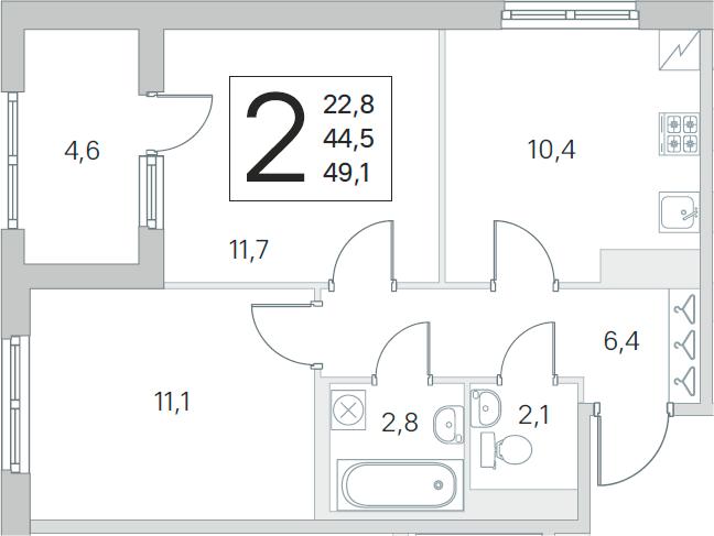 2-к.кв, 44.5 м²