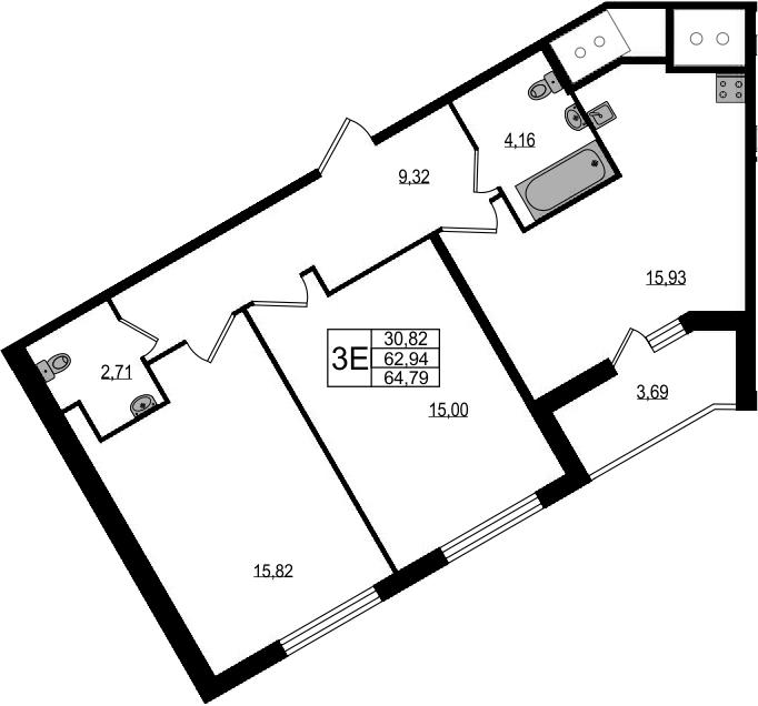 3-к.кв (евро), 66.63 м²