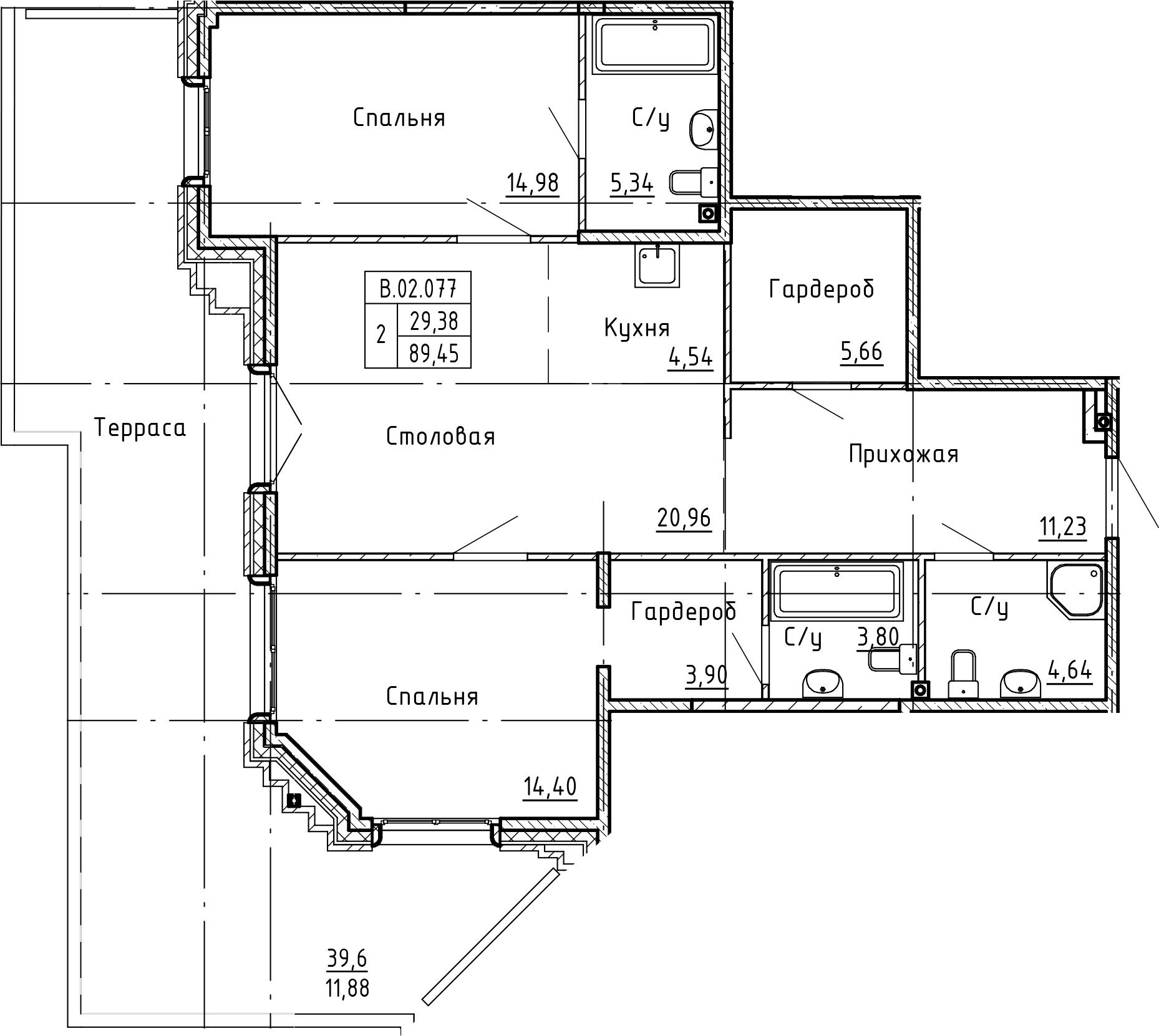 3Е-к.кв, 101.33 м²
