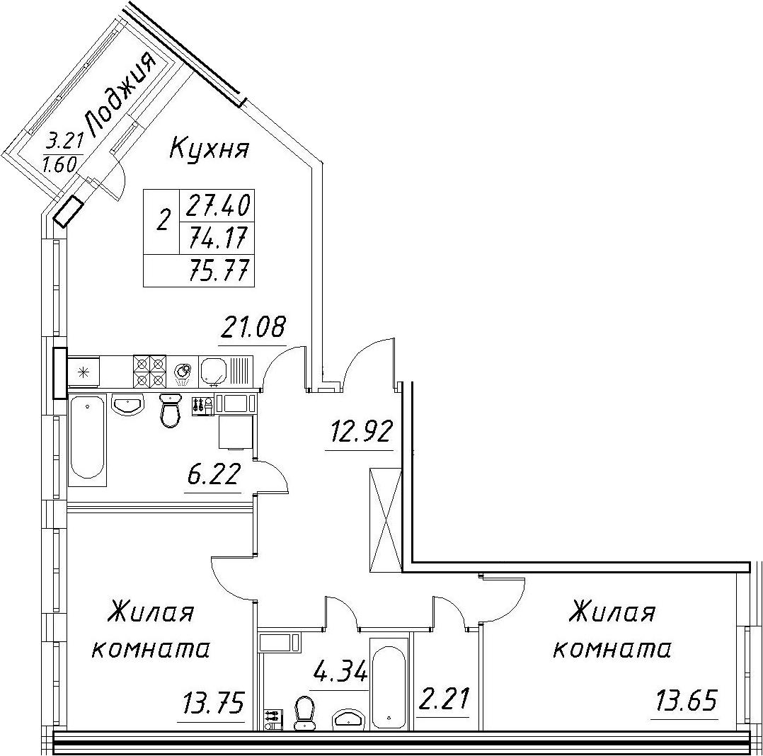 3-к.кв (евро), 77.37 м²