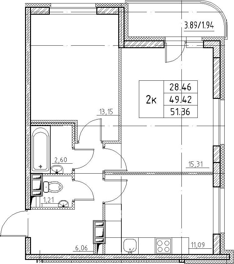 2-к.кв, 51.36 м²