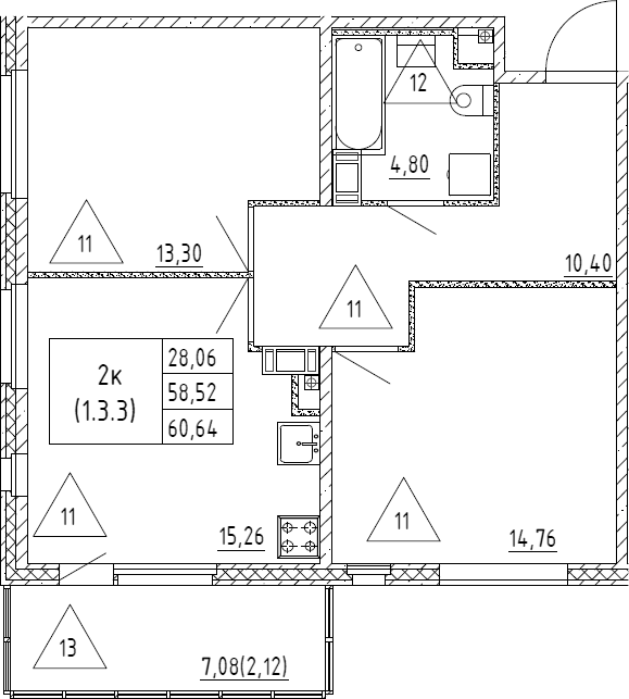 3Е-к.кв, 60.64 м², от 3 этажа