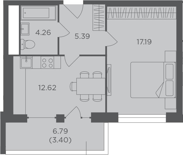 1-к.кв, 42.86 м², 4 этаж