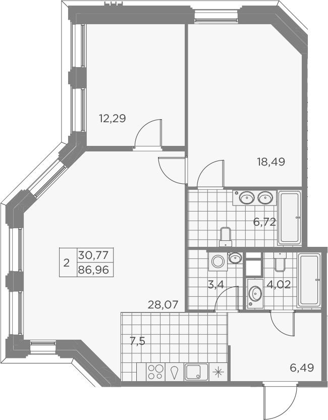 3Е-к.кв, 86.98 м², 3 этаж