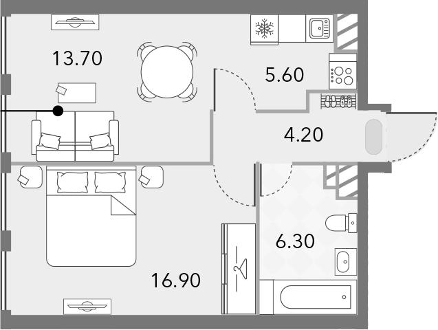 2Е-комнатная, 46.7 м²– 2