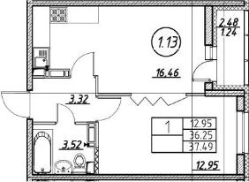 2Е-комнатная, 37.49 м²– 2
