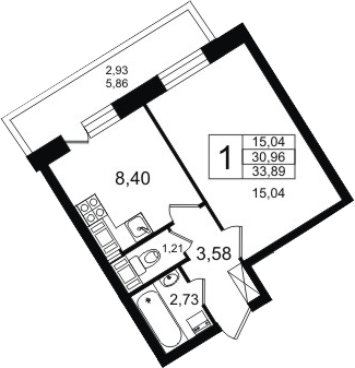 1-к.кв, 36.82 м²