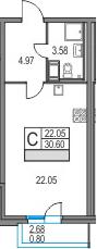 Студия, 30.6 м²– 2