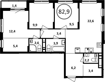 4Е-комнатная, 82.9 м²– 2
