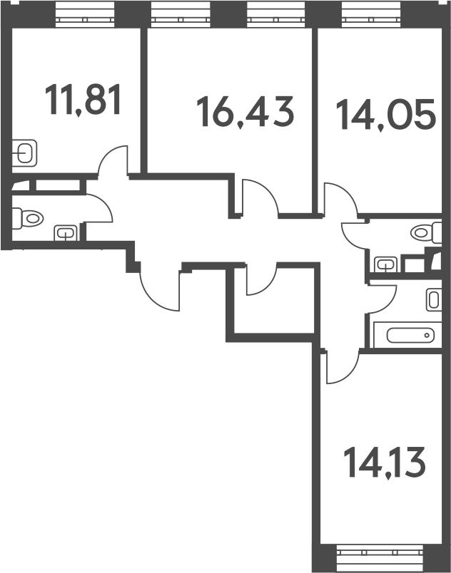 3-к.кв, 80.16 м²