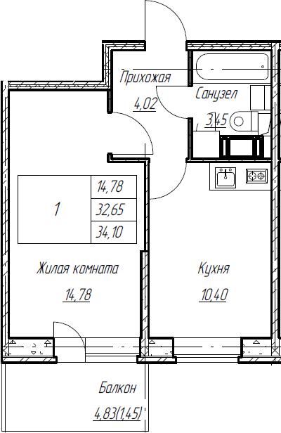 1-к.кв, 34.1 м², от 3 этажа