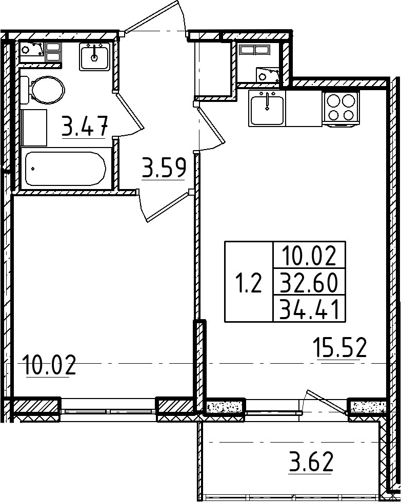 2Е-к.кв, 34.41 м²