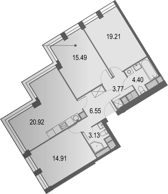 4Е-к.кв, 84.38 м², 13 этаж