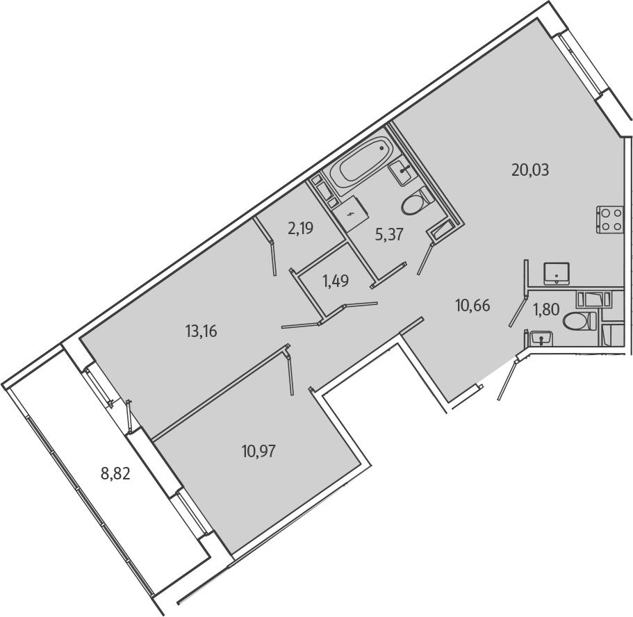 3Е-к.кв, 70.08 м², 2 этаж