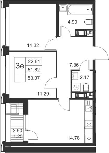 3-к.кв (евро), 54.32 м²