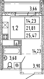 Студия, 23.64 м²