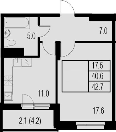 1-комнатная, 42.7 м²– 2