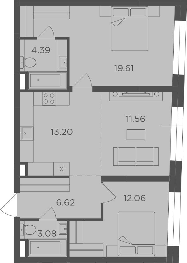 3Е-к.кв, 70.52 м², 3 этаж