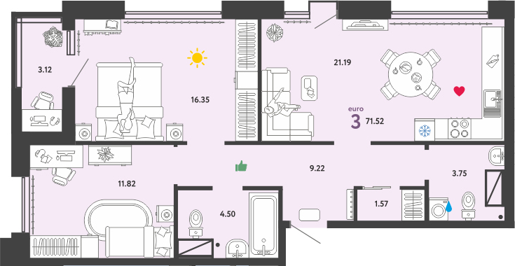 3Е-к.кв, 71.52 м²