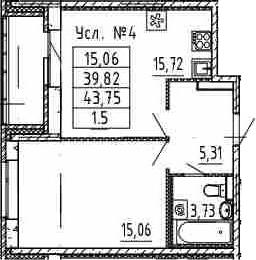 2Е-комнатная квартира, 39.82 м², 1 этаж – Планировка