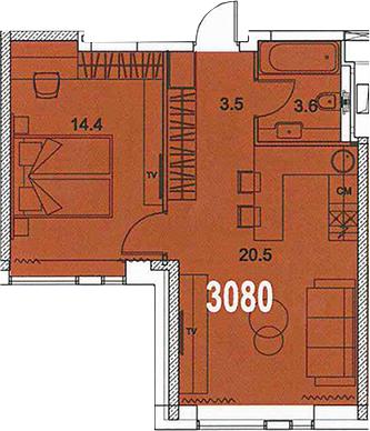 2-к.кв (евро), 42 м²