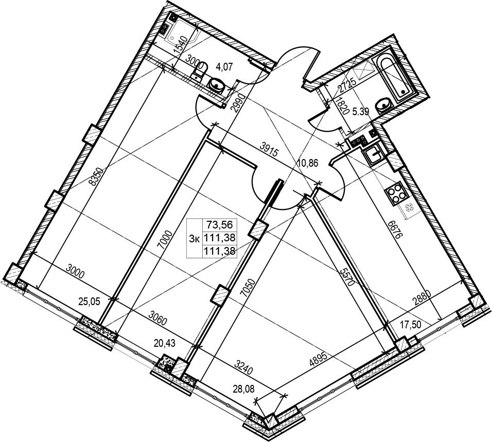 4Е-к.кв, 111.38 м², 2 этаж