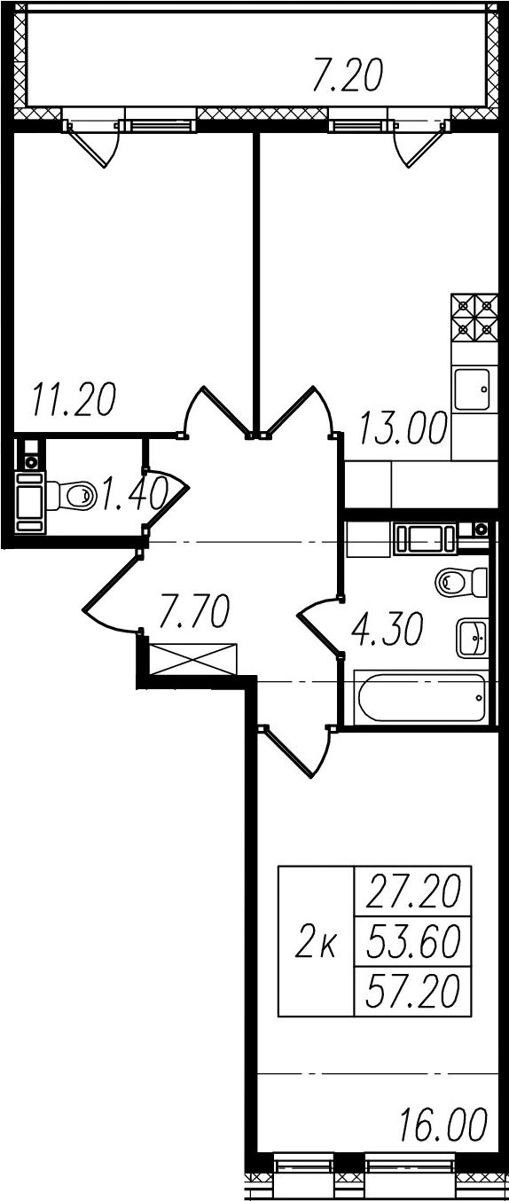 2-к.кв, 53.6 м², 9 этаж