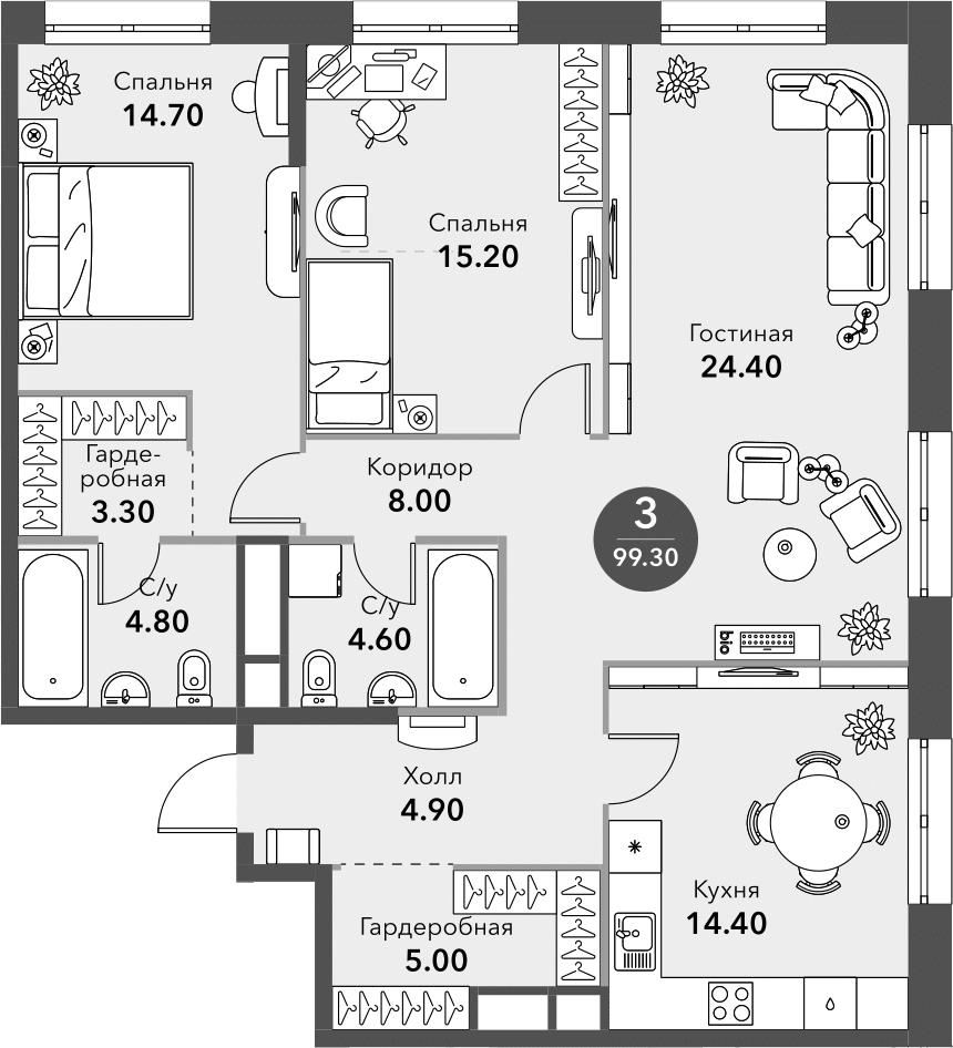 3-к.кв, 99.3 м², от 12 этажа