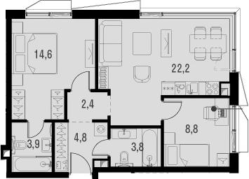 3Е-комнатная, 60.5 м²– 2