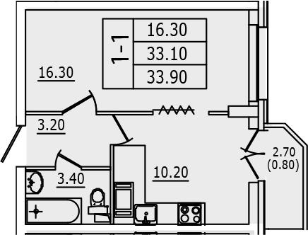 1-к.кв, 35.77 м²