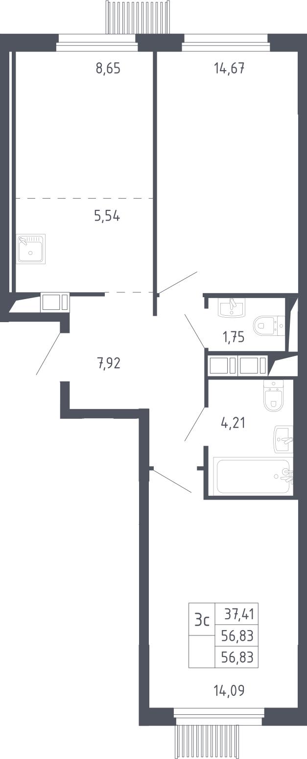 3Е-к.кв, 56.83 м², 17 этаж