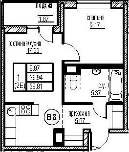 2-к.кв (евро), 40.68 м²