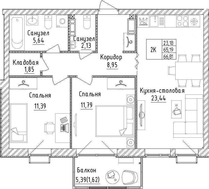 2-к.кв, 70.59 м²